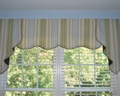 "SALE.....Model Home Window Treatments ready to ship:  tailored board mount valance to fit 72""- 76"" wide windows with rope trim"