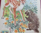 Large Vintage Book Page Print - 2 Sided - Monkeys and Fawn