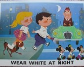 WEAR WHITE At NIGHT - Disney Study Print Poster - Circa 1967