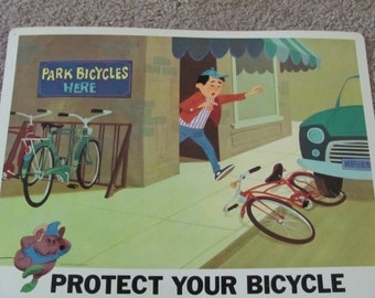 PROTECT YOUR BICYCLE - Vintage Classroom Poster Disney Study Print 1966