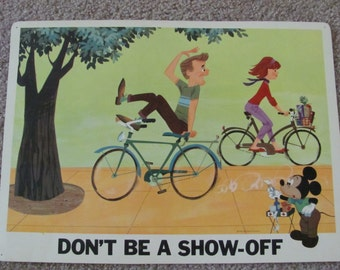 DON'T Be A SHOW OFF - Vintage Classroom Poster Disney Study Print 1966