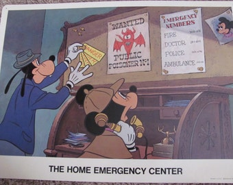HOME EMERGENCY CENTER - Disney Study Poster Print - Circa 1975 - Poison Safety