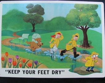Vintage Disney Study Print Poster 1968 - KEEP Your FEET DRY