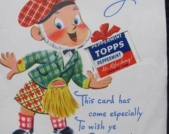 Vintage Antique Retro Greeting Card   - Circa 1950s - Birthday Topps Gum