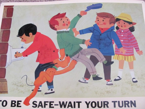 WAIT YOUR TURN - Disney Study Poster Print - Circa 1966