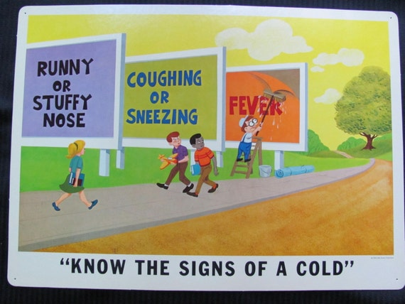 Vintage Disney Study Print Poster - 1968 - KNOW The SIGNS Of A COLD
