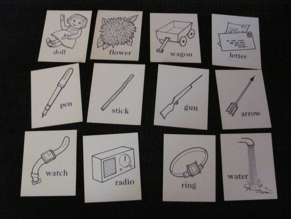 Lot of Word Picture Flashcards - Circa 1958