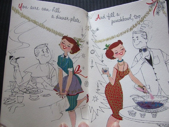 Vintage Antique Retro Greeting Card Booklet and Pop Up - Circa 1940s - Christmas Wife - Norcross