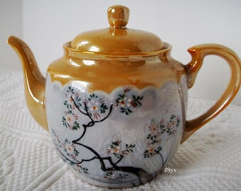 Lusterware Tea Pot Vintage Photoprop Made in Japan