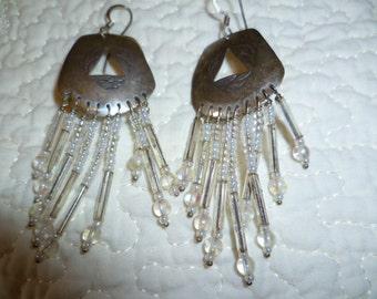 Wedding Earrings Vintage Sterling Silver Handmade by American Indian JC