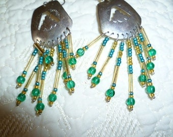 Handmade Earrings Sterling Silver Turquoise Blue and Green made by American Zuni Indian JC