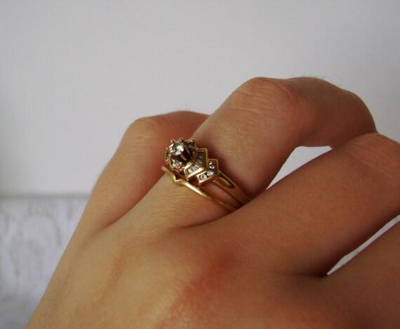 14K Diamond Engagement Ring and Wedding Band Set Size 5 3/4 Vintage Yellow Gold