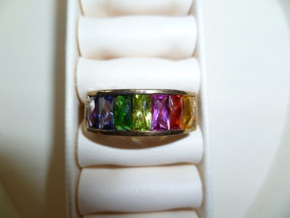 Mothers Rainbow Ring Vintage Gold Vermeil Size 6 1/2