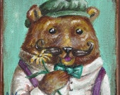 Gentleman Caller- Original 4 x 4 Bear Painting