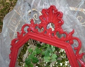 CHOOSE Color or Gorgeous Ornate RED Glossy Vintage Upcycled Wall Mirror 31 1/2 in. Choose Color     or Make this a Chalkboard