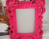 Ornate Hot Pink  Mirror or Picture Frame Paris,Hollywood Regency,  Paris, 9 1/2 x 8 Mirror will be added
