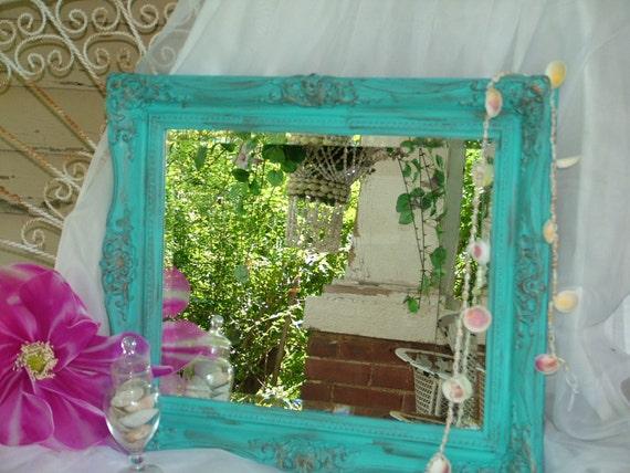 Ornate Mirror Choose Color or Large Aqua Beach Cottage Distressed Baroque Ornate Mirror 25 x 21 1/2 x 2