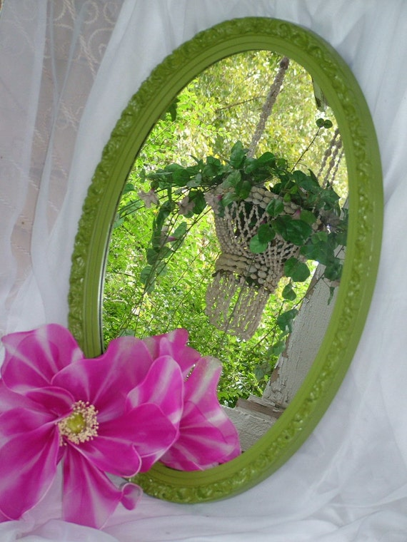 Oval Vintage Mirror Upcycled in Apple Green 27 x 18