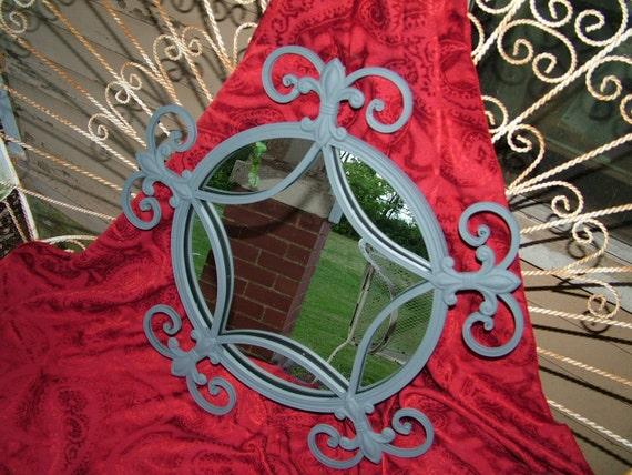 Reserved for Kristen Gray Mirror or CHOOSE Color Fleur De Lis Ornate Wall Mirror 21 1/2 Inches