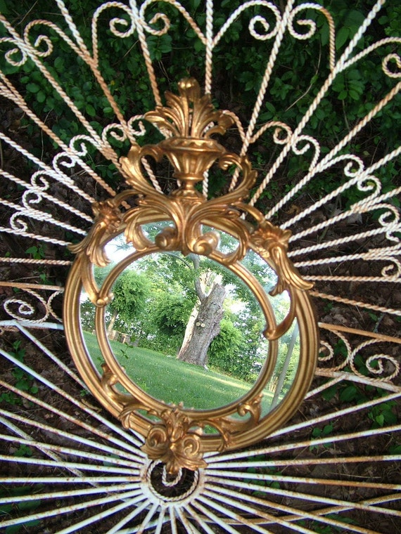 Reserved for  Fitzwili's Vintage Gold Round Wall Mirror Ornate HOLLYWOOD REGENCY  Made in ITALY 22 x 14 Choose Color