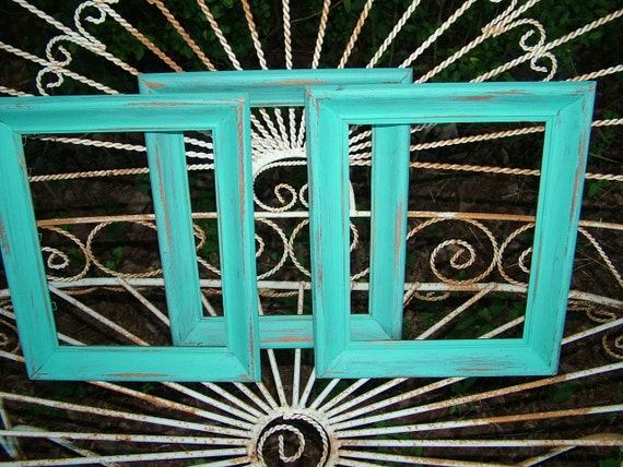 WALL Frame Set   Beach Cottage set of 3  Deep Aqua Wall Vintage Frames OR MIRRORS Extra Cost