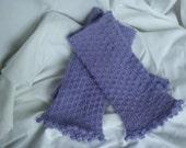 Knitted Purple  Wool Fingerless Gloves