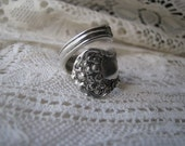 "Spoon Ring - Antique Silver Spoon - ""Chester"" by Wm Rogers & Son, 1900 - HIGHLY Collectible"