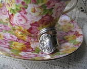 """Spoon Ring,  Antique Silver Spoon - Flatware Jewelry - Silverware Ring - """"Daisy"""" by SL & GH Rogers, 1910"""