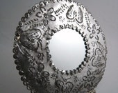 """Vintage Mexican Punched Tin Mirror 12 1/2"""" Wide Round Mexico"""