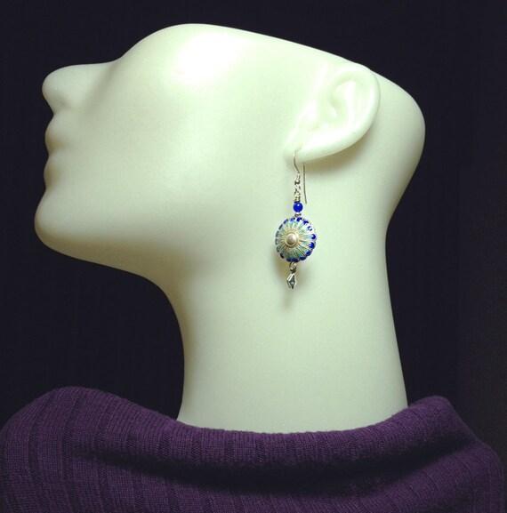 Sterling Silver, Cloisonne Beads, Blue Agate Earrings