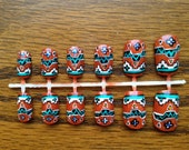 Paprika and turquoise, tribal design