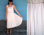 1970s. blush pink pleated tank dress. m