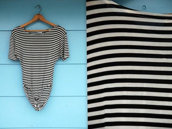 1990s.black and white striped bodysuit. s-l