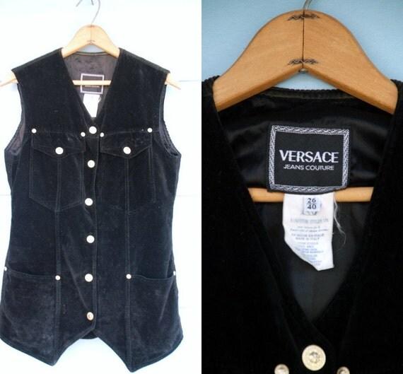 1990s. VERSACE. MENS velvet & corduroy vest with gold buttons. l