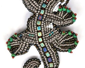 Designs-Bead Kit Only-Lizzie Bead Embroidery Pin-Grey-Pattern Sold Separately