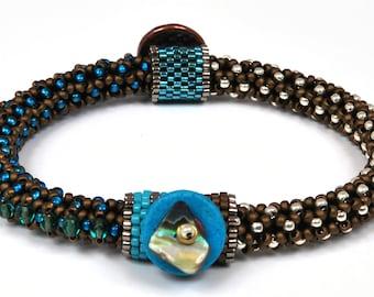 Designs-Bead Kit Only-Circle of Gems Single Bracelet Kit-Teal Blue-Pattern Sold Separately