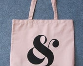 Screen Printed Tote Bag - Black & on pink