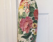 Reusable Plastic Bag Holder and catch-all with large pink flowers