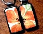 TWO Poppy Friendship Recycled BROKEN CHINA Plate Necklaces - Stained Glass Style