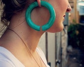 Faux Malachite Hoops - Earrings For Stretched Lobes - Gauges