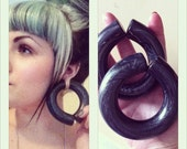 Charcoal and Silver Hoops - Earrings for Stretched Lobes - Gauges