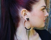 Coil Closure Copper Hoops with Gunmetal Spikes - Earrings for Stretched Lobes - Gauges