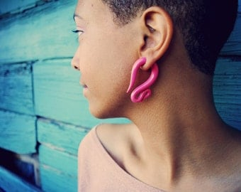 Fakers - Pulled Taffy Earrings - Earrings for Stretched Lobes - Faux Gauges