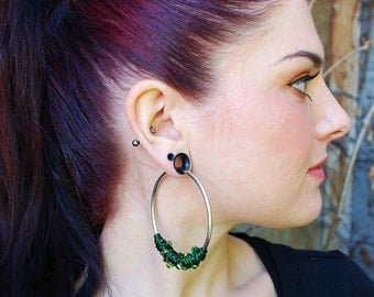 Chaotic Coil Closure Hoops with Beads - Earrings for Stretched Lobes - Gauges