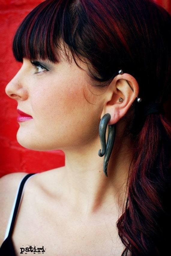 Silver Hooks -  Earrings for Stretched Lobes - Gauges