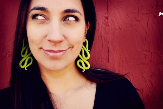 Wasabi Snakes - Earrings for Stretched Lobes - Gauges