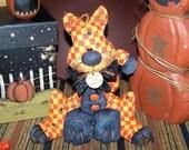 Primitive Halloween Kitty Cat Spider Pumpkin buttons Shelf Sitter