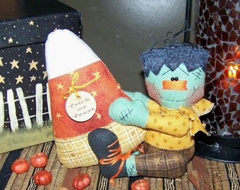 Primitive Halloween Frankenstein Candy Corn Shelf Sitter Pattern 83