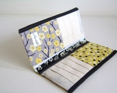 Fabric Wallet. Patchwork Black, Yellow, and Gray