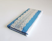 Handmade Fabric Wallet. Blue with Polka dots and Lace. Womens wallet. Lace fashion